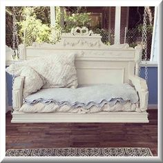 Bed turned into a porch swing #shabbychic  #porch #diy  #farmhousestyle  #shabbychicdecor  #porchswing #homeprojects