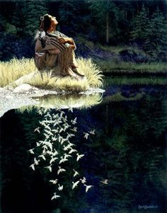 """Bev Doolittle """"LET MY SPIRIT SOAR"""" 1984 Banff National Park was the setting for this painting of a daughter of Blackfoot tribe sitting, dreaming dreams that fly high like free birds"""