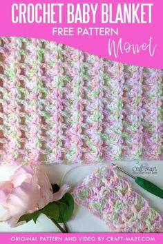 Crochet Baby Blanket Beginner, Baby Girl Crochet Blanket, Crochet Baby Blanket Free Pattern, Crochet Baby Blankets, Crochet Blanket Edging, Baby Afghan Patterns, Crocheted Afghans, Crochet Ripple, Crocheted Flowers