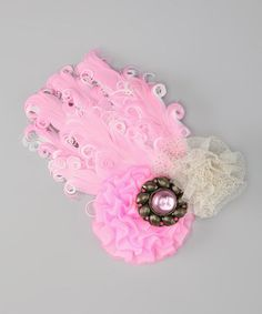 Take a look at this Ivory & Pink Flower Feather Headpiece by Overcash on #zulily today!