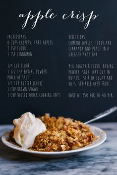 apple crisp - tried Sept 2013: good but apples didn't get done after an hour of baking also too many apples & not enough topping...try 6 cups apples & double the topping next time. Also go to website for this recipe - should bake 40-50 min. not 30-40. Tried 2nd time 10/02/13 worked better with more topping, peeled apples & melted butter instead of cold.