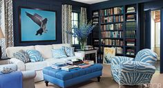 Navy blue walls with blue furniture