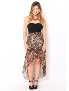 #Cheetah Chiffon High Low #Dress