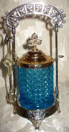 Antique Victorian Blue Cut Glass Silver Plate Castor for Pickles & Olives