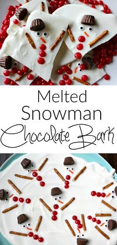 Melted snowman chocolate bark - a super easy holiday dessert. Great for Christmas cookie swap parties!
