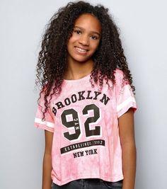 Teens Bright Pink Tie Dye Brooklyn 92 Cropped T-Shirt