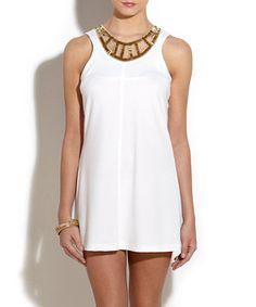 Elise Ryan White Embellished Neckline