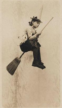 vintage photo postcard girl witch costume flying broomstick halloween