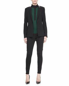Nayarit One-Button Jacket, Dara High-Neck Blouse & Giada Tapered Leg Pants by T Tahari at Neiman Marcus.