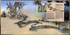 desert dragon, fantasy children illustration, pyramids, sand, palm trees