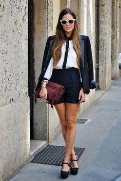 high waist shorts with button down and blazer
