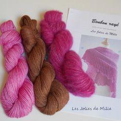 Kit tricot bonbon rayé, châle, rose et marron, laine teinte main