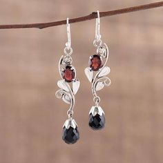 Onyx and garnet dangle earrings, 'Passionate Sparkle' - Leaf Motif Onyx and Garnet Dangle Earrings form India Sterling Silver Earrings, Dangle Earrings, Gemstone Jewelry, Beaded Jewelry, Ruby Pendant, Necklace Sizes, Jewelry Gifts, Jewelery, Beautiful Earrings