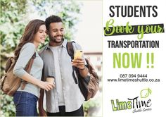 We know as students you have enough stress as it is, we are offering full-time students R80 discount on all bookings to make travelling a little lighter. Book your discounted seat online at www.limetimeshuttle.co.za or contact us on 087 094 9444 to make a booking. #limetimeshuttle #studentdiscount