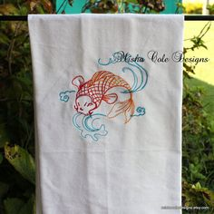 Koi Fish Tea Towel Embroidered by Misha Cole by mishacoledesigns, $13.00