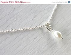 New Years SALE Single Pearl Drop Necklace White by KapKaDesign, $20.70