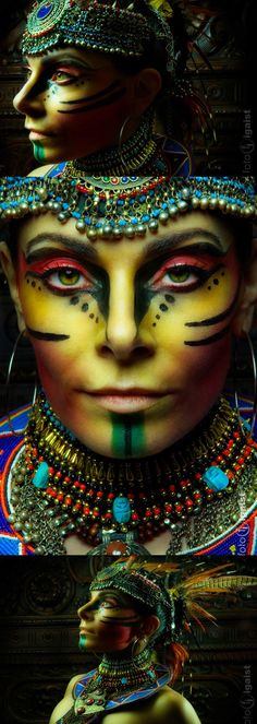 Super creative makeup looks we love. See more ideas about Makeup, Creat Maquillage Halloween, Halloween Makeup, Tribal Face Paints, Tribal Makeup, Extreme Makeup, Fantasy Make Up, Theatrical Makeup, Make Up Art, Special Effects Makeup