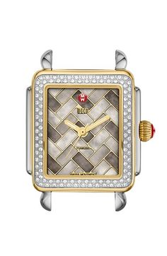 MICHELE 'Deco 16 Diamond' Two-Tone Watch Case, 29mm x 31mm available at #Nordstrom