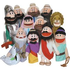 Puppet Ministry Set (12 puppets): A terrific collection of ministry puppets/ also a nice collection of puppets for the play room.    Set includes 12 puppets: David, Jesus, Noah, Goliath, King, Dove, Lion, Woman, 2 Rich Men, 2 Poor Men, and eight scripts (3 favorite old testament stories and 5 parables.    Also included are a CD with Favorite Old Testament Stories, Olive branch, dove, armor, and sling shot props. $339.95