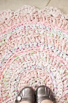 Baby Pink Scalloped Fabric Crochet Rug by ErinLynnDesigns on Etsy, $80.00
