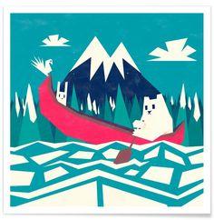 Yeti Canoe par Yetiland en Affiche premium   Achetez en ligne sur JUNIQE ✓ Livraison fiable ✓ Découvrez de nouveaux designs sur JUNIQE !