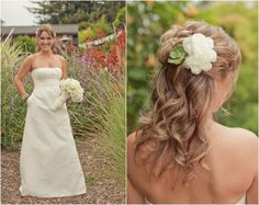 Succulent Wedding Detail In Brides Hair