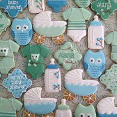 Blue & Mint Owl & Cherry Blossom Baby Cookies