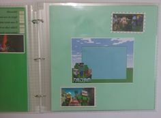 Álbum em cartonagem e scrapbook do Minecraft com 20 plásticos e papel color plus,com todas as páginas decoradas
