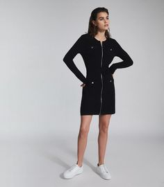 Emily Black Knitted Mini Dress With Zip Detail – REISS Beautiful Dresses For Women, Nice Dresses, Dresses For Work, Iconic Dresses, Reiss, Black Knit, S Models, Ladies Dress Design, New Outfits