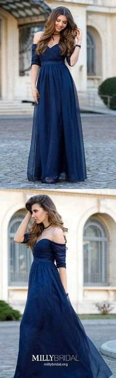 Long Prom Dresses with Sleeves,Royal Blue Prom Dresses A-line,Vintage Prom Dresses Off-the-shoulder,Elegant Prom Dresses Tulle