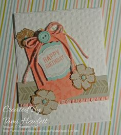 """Supplies: Stamps:  Label Love and Petal Parade  Paper:  Whisper White, Crisp Cantaloupe, Sahara Sand, and Pool Party card stock and Sweet Sorbet DSP  Ink:  Crisp Cantaloupe, Sahara Sand  Accessories:  Sweet Sorbet Accessory Pack, Decorative Dots Textured Impression Embossing Folder, Big Shot, Scalloped Tag Topper Punch, Label Love coordinating punch, #130812 Sycamore Street Ribbon and Button available in the Clearance Rack, Crisp Cantaloupe 3/8"""" Ruffle Stretch Ribbon, and Subtles Candy Dots"""
