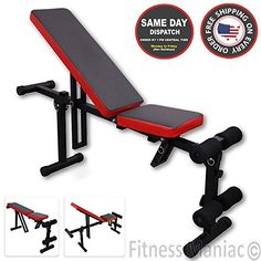 Adjustable Fitness Bench Weight Lifting Gym Home Workout Bench Height Adjustable Utility Bench Flat Incline Folding Red Black *** Learn more by visiting the image link. (This is an affiliate link) Adjustable Bench Press, Gym Workouts, At Home Workouts, Bench Press Workout, Gym Weights, Weight Benches, Wet T Shirt, Military Discounts, Discount Universe