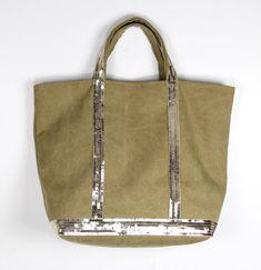 Vanessa Bruno cotton khaki gold sequin tote bag christmas gift for her gold  sequin shopper bag gold sequin purse personalised gift for her 273a95c9daf1