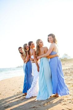 Different shades of blue- bridesmaid dresses