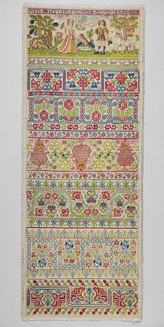 Sampler, 1656  Anna Buckett  English  Linen worked with silk threads; long-and-short, split, stem, back, tent, cross, and satin stitches