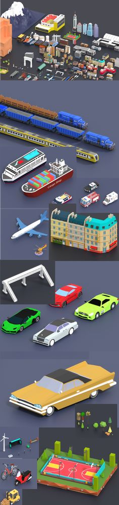 Buy Low Poly City Pack by CGmano on More than low poly models. Mountains Trees, rocks, grass, Many different buildings and And vehicles and other thin. Bus Station, Police Station, Train Station, Cartoon City, Cars Cartoon, Vegetable Shop, Computer Shop, City Model, Low Poly 3d Models