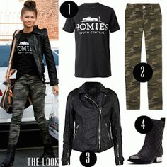f2bd71ddbd4b88 black white homies tee with front tucked - camo skinny jeans - black  leather boots - black leather jacket - gold (or silver) white black arm  party - gold ...
