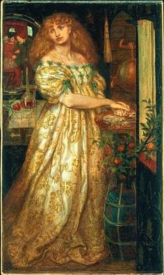 Lucrezia Borgia, painted by Dante Gabriel Rossetti 1860-1. I believe the model to be Fanny Cornforth. According to the Tate, Rossetti repainted her face several years after completing the painting.