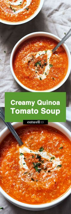With this super-flavorful creamy quinoa tomato soup, it's easy to get a warm bowl that satisfies not only your taste buds, but your nutritional needs too! This healthy homemade tomato soup re…