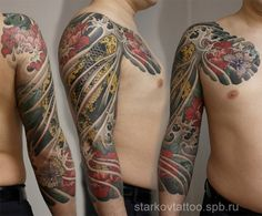 koi fish flowers butter fly tattoo