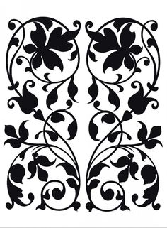 Scroll work with leaves Hand Embroidery Patterns Free, Scroll Saw Patterns Free, Christmas Embroidery Patterns, Crochet Flower Patterns, Free Machine Embroidery, Free Pattern, Arabesque, Crochet Decoration, Shadow Art