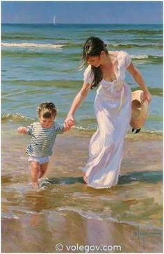 At the beach palette knife oil painting /Vladimir volegov painting recr. Art Plage, Art Amour, Beach Art, Beautiful Paintings, Love Art, Female Art, Painting & Drawing, Artist Painting, Amazing Art