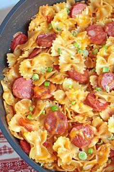 It's a yummy, cheesy pasta dish with Kielbasa sausage and garnished with chopped scallions. Enjoy!!