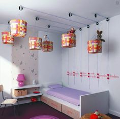 Look Up For Storage Potential. I like this idea for the playroom or bedroom! Maybe sports themed baskets?