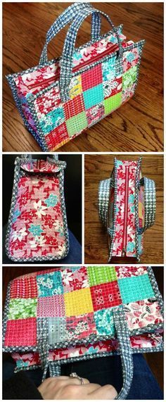 Can be pieced and made into a patchwork bag, or just made from your favorite fabric. Nice small size for a purse, not a huge carry-all bag. Would be great for church bag! Bag Patterns To Sew, Sewing Patterns Free, Free Sewing, Free Pattern, Pattern Sewing, Patchwork Patterns, Quilted Purse Patterns, Sewing Paterns, Patchwork Ideas