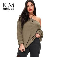 Kissmilk Cold Shoulder Sweater. Loose SweaterSweater CardiganJumperPullover  SweatersPlus Size Womens ... 1f0f25bca