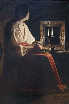 A sinner, perhaps a courtesan, Mary Magdalen was a witness of Christ who renounced the pleasures of the flesh for a life of penance and contemplation. She is shown with a mirror, symbol of vanity; a s