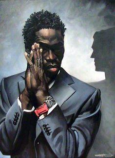 Nice artwork displaying a dark shaded beautiful man.  untitled\unknown artist