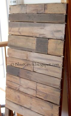 Tutorial & Recipes for creating this Faux Aged Pallet look on pine boards using homemade Spray Tea Stain, homemade Steel-Wool & Vinegar Solution, White Wash & Dark Wax.