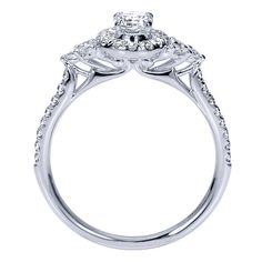 14k White Gold Diamond Halo Engagement Ring | Gabriel & Co NY | ER8995W44JJ